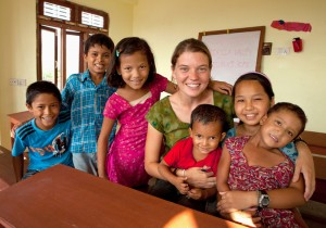Maggie Doyne with her children at Kopila Valley Childrens Home, Nepal