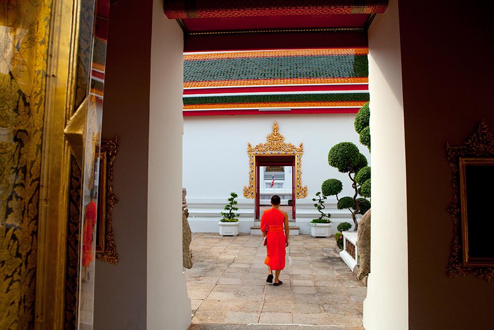 Buddhist monks at the Grand Palace, Bangkok, Thailand